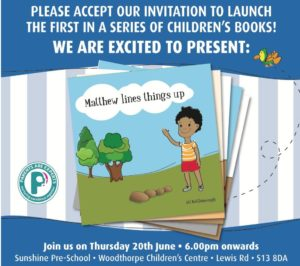 Mathew lines things up book launch 20 June 19, 6pm @ Woodthorpe Children's Centre S13 8DA